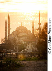 Sultanahmet Mosque  on sunset background