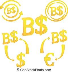 sultanato, valuta, icona, simbolo, dollaro, brunei