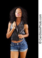 Attractive Black Teen Jeans Shorts Leather Jacket