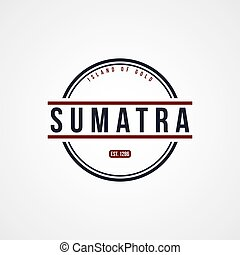 sumatra, indonesia, insignia, tema, etiqueta
