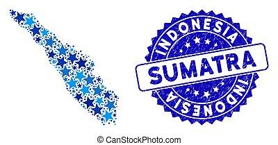 sumatra, rasguñado, mosaico, isla, azul, estampilla, mapa, ...