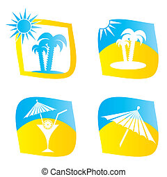 Sumer icons - Set of four blue and yellow summer icons