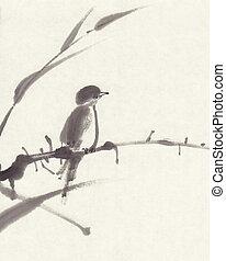 sumi-e, peinture, oiseau, encre