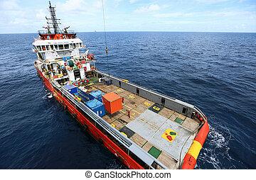 suministro, barco, transferencia, carga, a, aceite