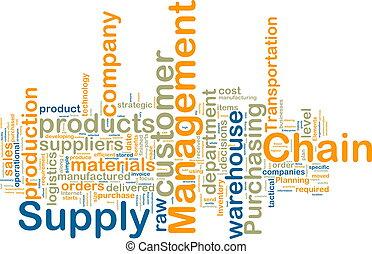 suministro, cadena, dirección, wordcloud