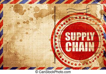 suministro, cadena, grunge rojo, estampilla, en, un, correo aéreo, plano de fondo