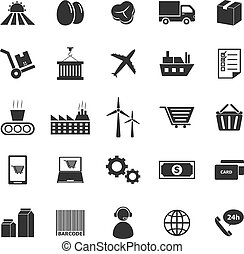 suministro, cadena, iconos, blanco, plano de fondo