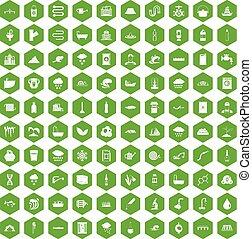 suministro, iconos, agua, verde, 100, hexágono