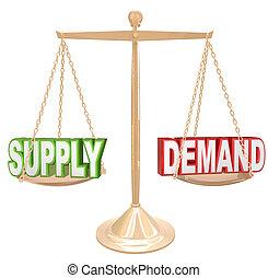 suministro y demanda, escala del balance, economía,...