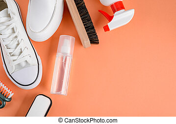 suministros, blanco, naranja, backgroun, shoes, limpieza