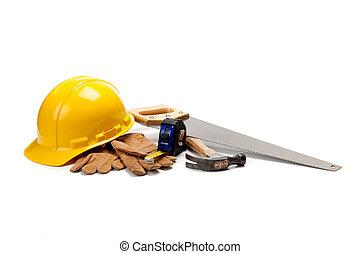 suministros, blanco, trabajador construcción