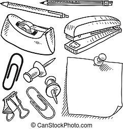 suministros, bosquejo, oficina