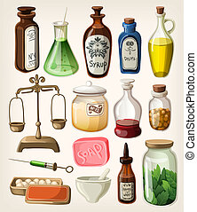 suministros, conjunto, boticario, vendimia