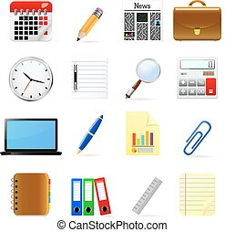 Clip art vectorial de suministros iconos de la oficina for Suministros oficina