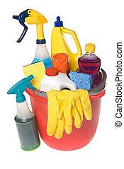 suministros, cubo, limpieza