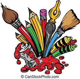 suministros de arte, vector, caricatura