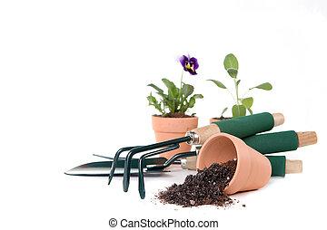 suministros de jardinería, con, espacio de copia