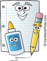 suministros, escuela, caricatura