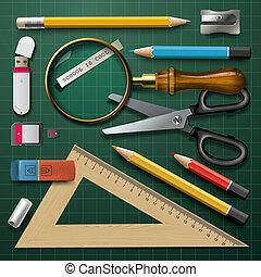 suministros, escuela, colorido