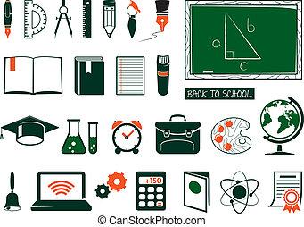 suministros, escuela, conjunto