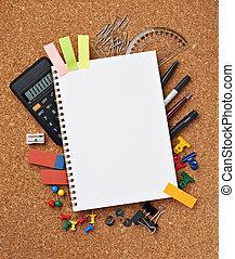 suministros, escuela, educación, artículos