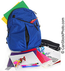 suministros, escuela, espalda