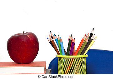 suministros, escuela, espalda, escuela