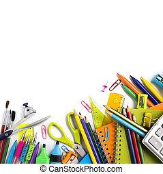 suministros, escuela, fondo blanco