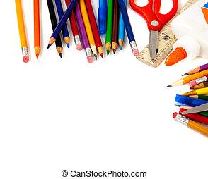 suministros, escuela, fondo blanco, variado