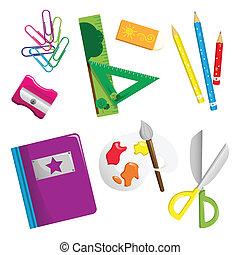 suministros, escuela, iconos