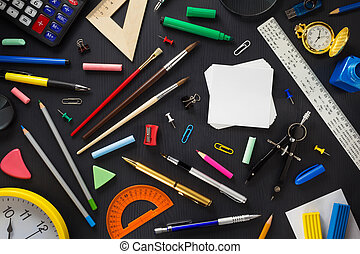 suministros, escuela, madera, negro