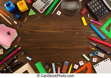 suministros, escuela, madera
