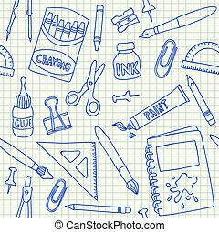 suministros, escuela, seamless, patrón