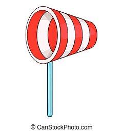 suministros, media de viento, icono, caricatura, estilo