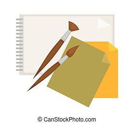 suministros, para, pintura, y, papel, aislado, caricatura,...