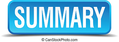 Summary blue 3d realistic square isolated button
