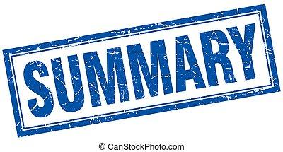 summary blue square grunge stamp on white