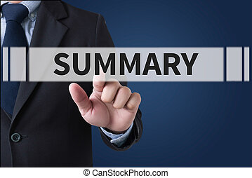 SUMMARY Businessman hands touching on virtual screen and...
