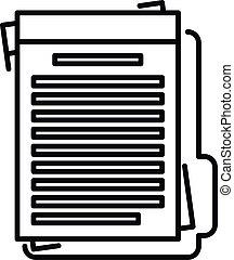 Summary folder icon, outline style