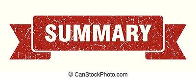 summary grunge ribbon. summary sign. summary banner
