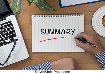 SUMMARY man hand notebook and other office equipment such as...