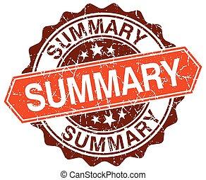 summary orange round grunge stamp on white