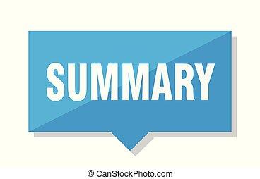 summary price tag - summary blue square price tag