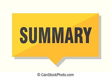summary price tag - summary yellow square price tag