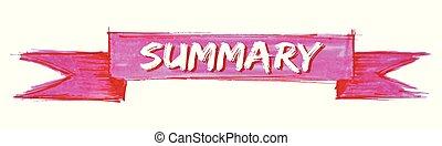 summary ribbon - summary hand painted ribbon sign