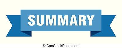 summary ribbon. summary isolated sign. summary banner