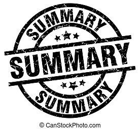 summary round grunge black stamp