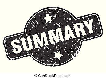 summary round grunge isolated stamp