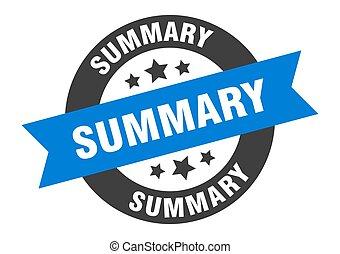 summary sign. summary blue-black round ribbon sticker