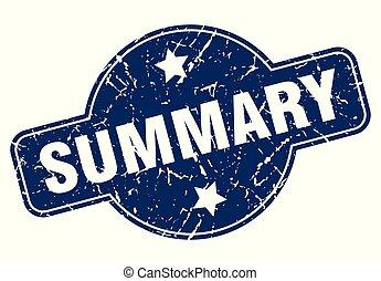 summary sign - summary vintage round isolated stamp